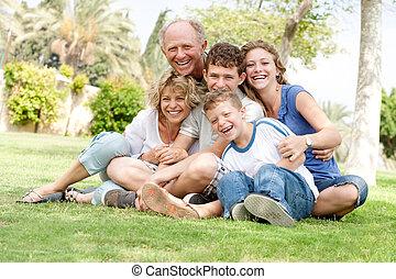 estendido, agrupe retrato, de, família