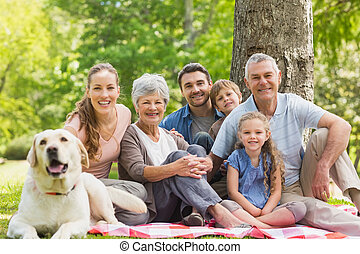 estendido, animal estimação, seu, cão, família