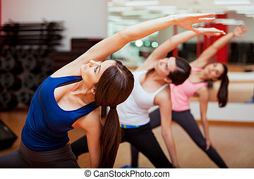 estendido, lado, ângulo, ioga posa