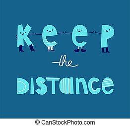 estendido, outro, lettering, levantar, cada, distância, azure, botas, engraçado, caricatura, distancing., mantenha, letras, experiência., social, azul, handles., distância