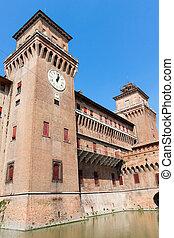 estense, イタリア, castle., emilia-romagna., ferrara.