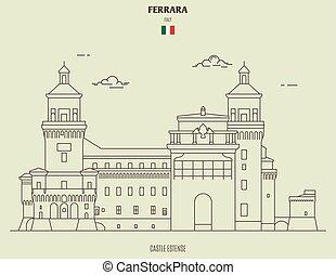 estense, italy., punto di riferimento, castello, icona, ferrara
