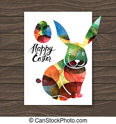 Ester card with watercolor rabbit. Vector illustration