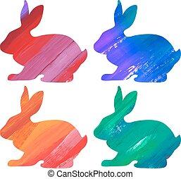 Ester color bunny set. Acrylic vector illustration