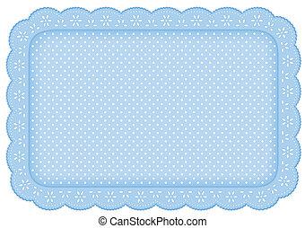 estera azul, polca, lugar, mantelito, punto, encaje
