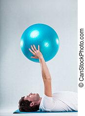 estera, ejercicio, piso