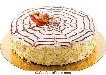 esterhazy taart Esterhazy cake on a brown background. tinting. selective focus. esterhazy taart