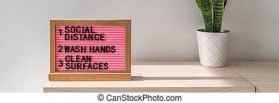 esterilización, limpio, banner., espacio público, prevención, manos, texto, superficies, reglas, prácticas, superficies, social, lavado, a menudo, covid-19, coronavirus, distancing, higiene, práctica, tabla