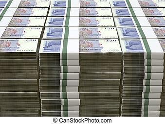 esterlino, libra, notas, pacotes, britânico, pilha