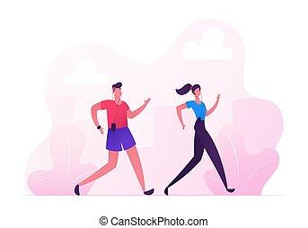 esterno, activity., sport, maratona, città, lifestyle., sport, fondo., paesaggio, estate, felice, appartamento, donna, natura, coppia, illustrazione, correndo, indossare, cartone animato, uomo, sano, jogging, vettore