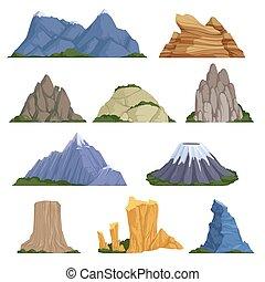 esterno, andando gita, vulcano, rockies, neve, vettore, vario, sollievo, roccia, illustrazioni, rampicante, montagne., cartone animato, tipi