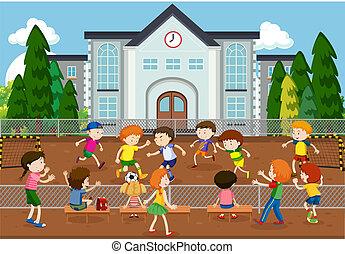 esterno, calcio, bambini giocando