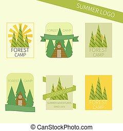 esterno, campeggio, icone, logo., viaggiare, set, emblems., turismo