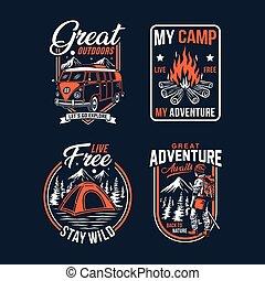 esterno, campeggio, tesserati magnetici