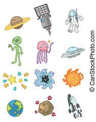 esterno, cartone animato, icona, spazio
