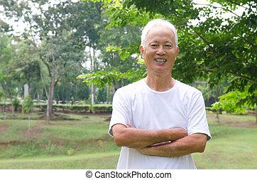 esterno, cinese, verde, asiatico, fondo, maschio maggiore