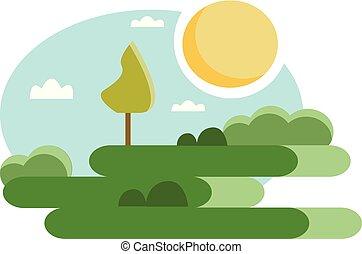 esterno, colorare, soleggiato, parco, illustrazione, giorno, vettore, verde, o