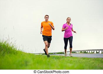 esterno, coppia, jogging, correndo, idoneità, sport