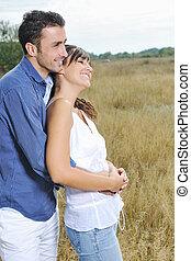 esterno, coppia romantica, giovane, possedere, tempo, felice