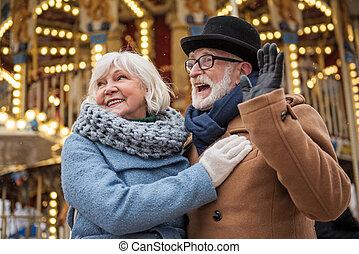 esterno, coppia, sposato, allegro, anziano, divertente