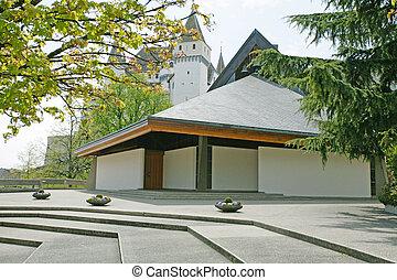esterno, di, moderno, europeo, chiesa, con, architettura contemporanea