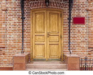 esterno, e, porta principale, di, uno, bello, vecchio, casa