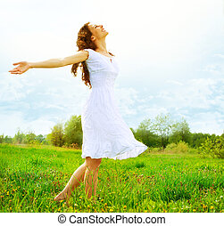 esterno, enjoyment., nature., libero, ragazza donna, godere...