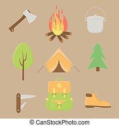esterno, estate, set, icone, campeggio