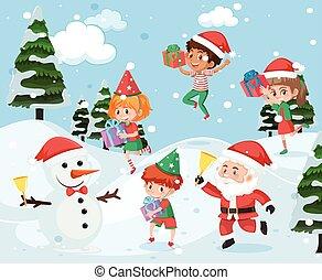 esterno, gioco, neve, bambini