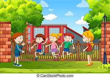 esterno, gioco, scena, bambini