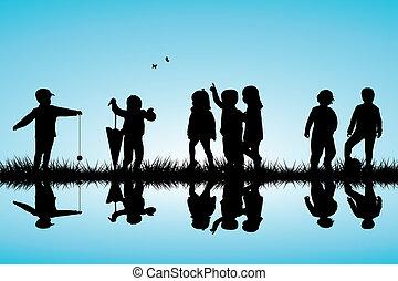 esterno, gruppo, lago, gioco, silhouette, bambini