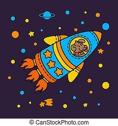 esterno, infantile, cosmonauta, razzo, illustrazione, style., carino, spazio, vettore, tema, cane, stella, galaxy., space., spaceship.