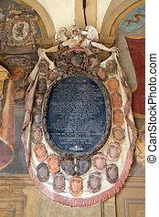 esterno, italia, bologna, atrio, epitaffio, archiginnasio