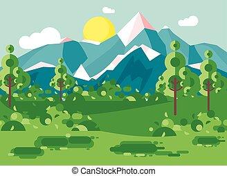 esterno, montagne, nazionale, albero, cespugli, prato, paesaggio, blu, stile, cielo, giorno, cartone animato, bianco, appartamento, natura, soleggiato, parco, illustrazione, fondo, giorno, nubi, vettore