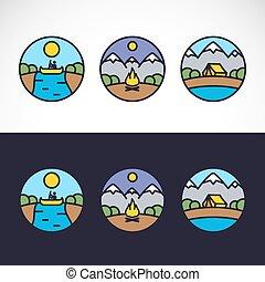esterno, natura, sport, set, sagoma, logotipo, paesaggio