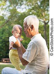 esterno, nipote, nonno, suo, asiatico, divertimento, detenere