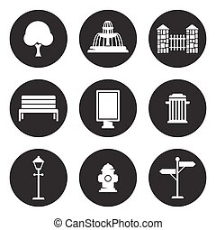 esterno, parco, elementi, icone, set