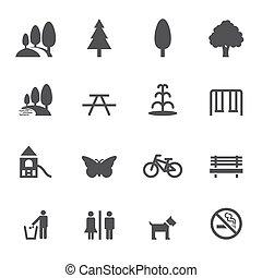 esterno, parco, icone