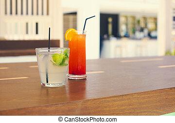 esterno, sbarra, occhiali, cocktail, contatore