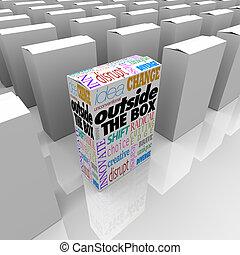 esterno, scatola, unico, differente, soluzione, a, problema,...