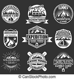esterno, set, etichette, emblemi, vettore, avventura
