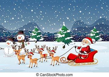 esterno, sleigh, sentiero per cavalcate, santa