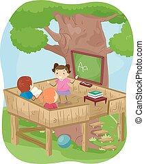 esterno, stickman, stanza, casa, albero, bambini, classe
