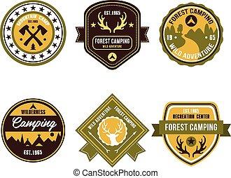esterno, vendemmia, campeggiare, emblemi, logotipo, tesserati magnetici