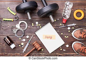 esteroides, de madera, deporte, equipo, floor.