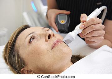 esteticista, carregar, saída, ultrasom, pele, rejuvenation,...