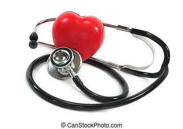 estetoscópio, com, coração vermelho