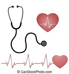 estetoscópio, coração