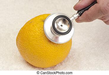 estetoscópio, e, laranja