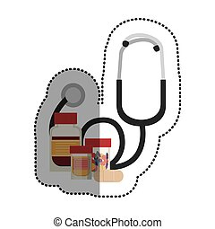 estetoscópio, e, medicina, de, cuidado médico, desenho